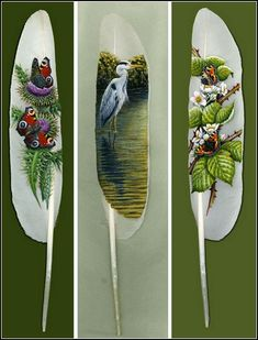 Feather Art by Ian Davey Feather Painting, Feather Art, Tole Painting, Beautiful Paintings Of Flowers, American Indian Crafts, Native American, Feather Headdress, Feather Crafts, Bird Art