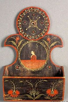 Small Polychrome Paint Decorated Wooden Wall Pocket, America, early 19th century, the pocket is made of ash.