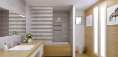 """This modern bathroom has a recycled granite and glass tile that is a 1/4"""" thick. This color is called Pietra del Cardoso."""
