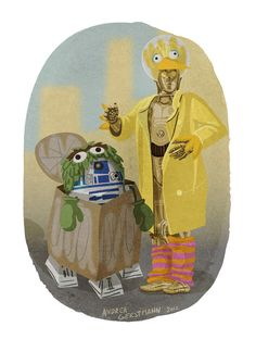 R2-D2 and C-3PO dressed up as Oscar the Grouch and Big Bird for Halloween // Star Wars, Sesame Street