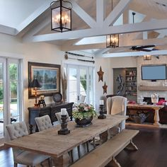 - Rustic Inspiration. Give us your take on this look.... - or ? (Photo Cred: Randy Smith) - @RusticHomes For More Rustic /Home Decor Inspiration #Safavieh #LooksLikeSomeonesDecorating #Inspiration #Rustic #Decor #DiningRoom