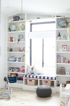 DIY Bookshelves with Window Seat - Playroom Reveal at the - withHEART by leanna Girl Room, Girls Bedroom, Toy Rooms, Kids Rooms, Organizing Your Home, Kid Spaces, Room Inspiration, Shelving, Family Room