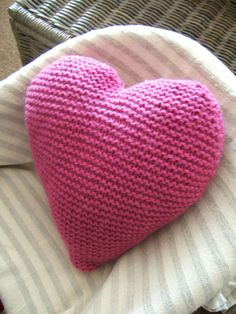 Hand  Knitted Heart Cushion / Pillow / Woollen Large by BeOdd