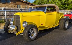 https://flic.kr/p/wMai67 | Yellow Roadster Hot Rod | Coffee and Cars car show in Oklahoma City.