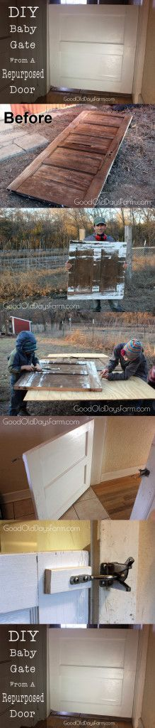 How to build a DIY baby gate from an old repurposed door #DogGate