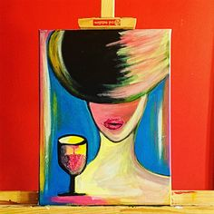 Woman with glass of wine, acrylic painting