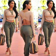 Combat trousers and heels