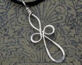 Celtic Cross Silver Wire Pendant - elongated Quatrefoil