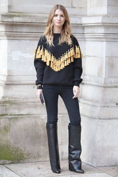 Street Style Paris Fashion Week - Street Style Photos from PFW - Elle high boots statement sweater