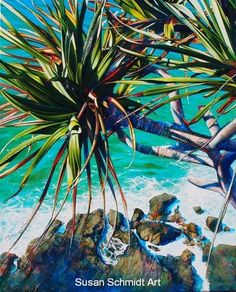 Commissions are Susan's a rtwork tailored to your budget, composition and size requirements. A deposit payable on commencement of decided commissioned work with balance due on completion and approval. Tropical Art, Tropical Forest, Paint And Sip, Water Art, Ocean Art, Beach Scenes, Mural Art, Acrylic Art, Animal Paintings