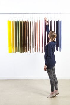 """The Raw Color project developed """"Raw Textiles"""" for an exhibit at Edwin Pelser, a design shop in Den Haag, the Netherlands. www.edwinpelser.nl  Displayed as a gradient in the window display (info from Raw Color site)"""