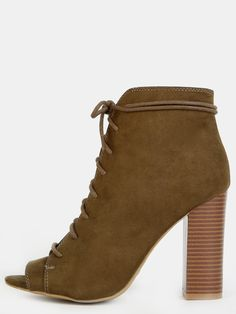 4aa59b32479 Treat yourself in the Stacked Heel Lace Up Ankle Boots! Features an open  toe