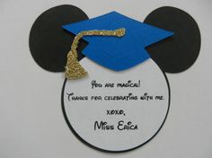 Mickey Mouse Inspired Graduation Thank You Note Tags Party Favor Personalized Item on Etsy, $14.99
