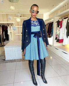 Modern isishweshwe dresses for ladies & Kids - Reny styles Shweshwe Dresses, Discount Womens Clothing, Dress Images, Dress Picture, Fashion Today, Collar Dress, African Dress, Dress Codes, Traditional Dresses