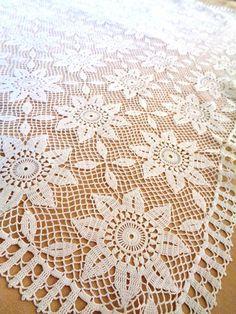 Items similar to Crochet Tablecloth Large Rectangular Sunflower Pattern Handmade Crochet Tableclothes Table Cover Lace Runner on Etsy Crochet Borders, Crochet Motif, Crochet Doilies, Knit Crochet, Crochet Edgings, Crochet Bedspread, Crochet Tablecloth, White Tablecloth, Crotchet Patterns