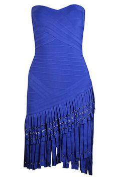 New Fashion Women Fringe Metal Eyelet HL High Quality Vestido Bandage Dresses Strapless