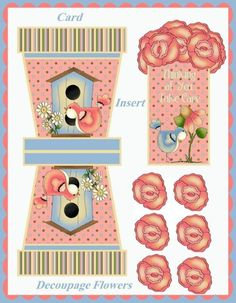 Items similar to Country Primitive Flowerpot Cards, Greeting Inserts, Decoupage Flowers DIGITAL on Etsy