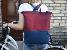 Buy now the navy and burgundy minimalist canvas backpack laptop bag. Office Bags For Women, Laptop Bag For Women, Canvas Backpack, Laptop Backpack, Gifts For Your Girlfriend, Types Of Bag, Online Bags, Drawstring Backpack, Diaper Bag