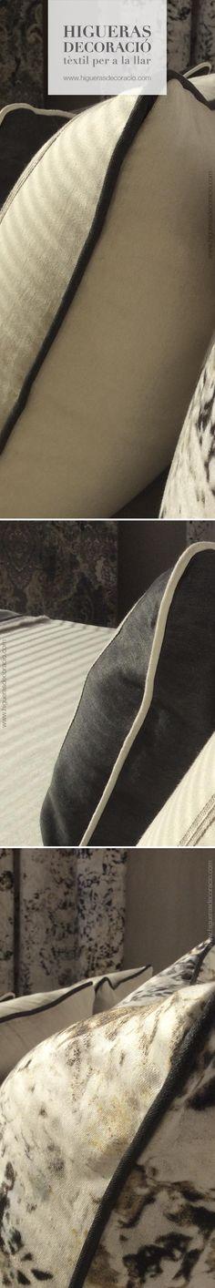#Cojines a juego con las cortinas #Cortinas estampadas #Doble cortina larga. #Tejido de hilo de seda de estampado indefinido. #Ropa de cama de hilo. #Fundas de almohada. #Coixins a joc amb les cortines #Cortines estampades #Doble cortina llarga. #Teixit de fil de seda d'estampat indefinit. #Roba de llit de fil. #Fundes de coixí. www.higuerasdecoracio.com