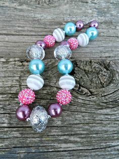 Children's Chunky Bead Necklace Bubblegum Bead by Bella406 on Etsy, $24.99