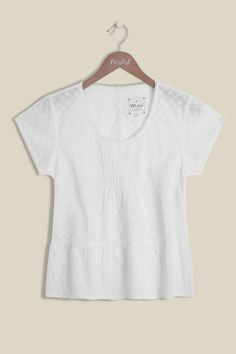 A lightweight, wardrobe must have this season. Our Dreamy White Blouse is made from 100% woven cotton, featuring an elegant scoop neckline, pintucks, lace detailing, peplum hem with embroidery throughout. The perfect piece to keep you cool during the warmer seasons.