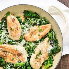 Skillet Chicken Caesar Salad Recipe Salads with vegetable oil, salt, black pepper, skinless chicken breasts, caesar salad dressing, kale, grated parmesan cheese, fresh parsley