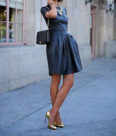Round Neck Short Sleeve PU Leather Dress on Luulla I Love Fashion, Fashion Beauty, Fashion Show, Fashion Looks, Womens Fashion, Ol Fashion, Mode Style, Style Me, Prep Style