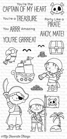 My Favorite Things - PARTY LIKE A PIRATE - Stamp Set Are you ready to sail the seven seas with this ragtag trio of adventurous pirates from Birdie Brown? Boutique Scrapbooking, Favorite Things Party, Mft Stamps, Clear Stamps, Doodle Art, Embroidery Patterns, Ribbon Embroidery, Machine Embroidery, Coloring Pages