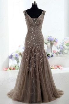 On Sale Easy Prom Dresses A-Line A-Line V-Neck Sweep Train Tulle Sleeveless Beaded Lace-up Brown Prom Dress Evening Gowns Prom Dress, Sleeveless Prom Dress, Beautiful Evening Dress, V Neck Prom Dress, A-Line Prom Dress Prom Dresses 2019 Brown Prom Dresses, Mob Dresses, Formal Dresses, Wedding Dresses, Dresses 2016, Dresses Dresses, Formal Prom, Ball Dresses, Bridesmaid Dresses