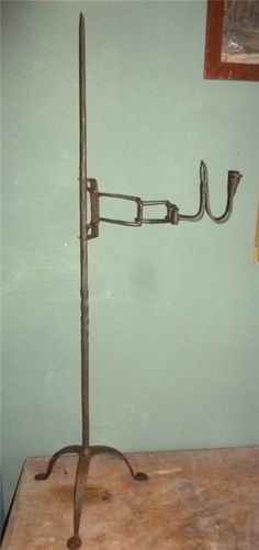 Great Antique Wrought Iron Rushlight Candle Stand  Primitive Lighting 18th C *Great Formation and Presentation.   Sold   Ebay    635.00.    ...~♥~