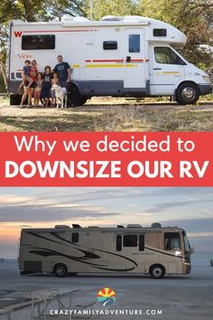 Considering the transition to full-time RV life? Here is what I wish we had known! When you go from a 2700+ square foot house into an RV full time, you think you need a LOT of space in your RV. We first started full-time RVing with a 39 foot Newmar Diesel Pusher Motorhome. We made the decision to downsize to a 23 foot 2006 Winnebago View. Here are our reasons why. Check it out! #RVlife #RVliving #downsize #RVtravel Rv Travel, Family Travel, Family Adventure, Adventure Travel, Road Trip Destinations, Rv Campers, Rv Parks, Rv Life, Rv Living