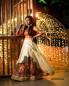 Pretty bride who really knows how to carry this glam outfit and we love how creative this designer outfit is. Kerala Saree Blouse Designs, Half Saree Designs, Lehenga Designs, Kerala Engagement Dress, Engagement Dress For Bride, Indian Fancy Dress, Dress Indian Style, Indian Designer Outfits, Designer Dresses