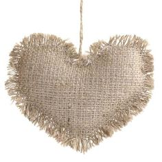 Shabby Christmas Rustic Burlap Heart Ornament by TheFrenchSecret