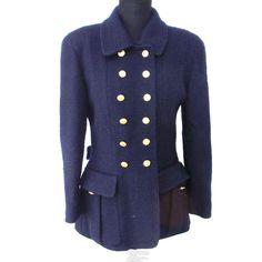CHANEL. Paris. Vintage Navy Military Style CC Logos Long Sleeve Jacket