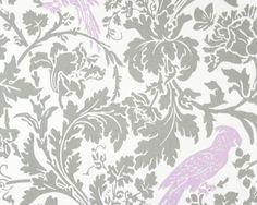 Storm Gray Grey Leafy  Damask with Wisteria Lilac Light Purple Bird 100% Cotton Fabric