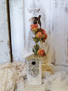 Shabby chic white handmade birdhouse home and by AnitaSperoDesign, $55.00