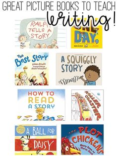 A list of great books to teach writing.  These books are perfect for teaching the writing process to younger children.