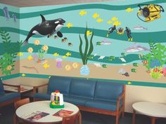 Under Water Ocean School Mural - Design an awesome Sea Life Classroom Mural with large murals decals. Click here for Underwater Mural design help article. Print out our Underwater Mural Directions. Th