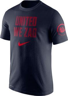 68143682 Nike Men's Gonzaga Bulldogs Blue Dri-Fit Verbiage Performance T-Shirt