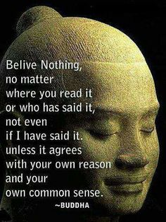 Believe nothing, no matter where you read it or who has said it, not even if I have said it, unless it agrees with your own reason and your own common sense. -Buddha