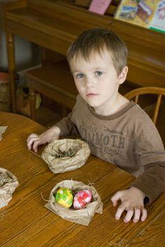 Paper Bag Easter Egg Nests