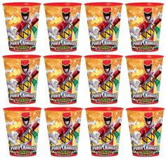 Power Rangers Dino Charge Reusable Keepsake Cups (12)Birthday Party Plastic Cups
