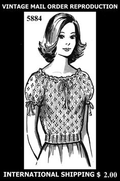 Pattern Peddler: 5884 Vintage 1950's GRIT SEXY Blouse Shirt Top Knitting Knit Knitted Pattern Yarn Mail Order REPRODUCTION
