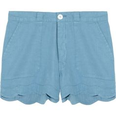 MiH Jeans Scalloped linen and cotton-blend shorts ($76) ❤ liked on Polyvore featuring shorts, bottoms, pants, blue, sky blue, loose shorts, loose fit shorts, mid rise shorts, scalloped shorts and blue scalloped shorts