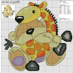 Fizzy moon~a story of a bear and his giraffe Cross Stitch For Kids, Just Cross Stitch, Cross Stitch Baby, Cross Stitch Animals, Cross Stitch Charts, Cross Stitching, Cross Stitch Embroidery, Embroidery Patterns, Funny Cross Stitch Patterns