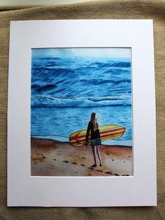 Female Surfer Watercolor Print, Surfer Watercolor, girl surfer, girl surfing, girl at beach, Ocean, Waves, Blue, Surf Art, Beach Art,  Mat by LandandSeaArtStudio on Etsy