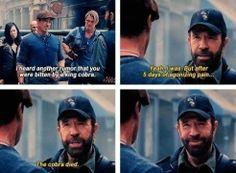 """Chuck Norris making a Chuck Norris joke. Priceless."" Chuck-ception"