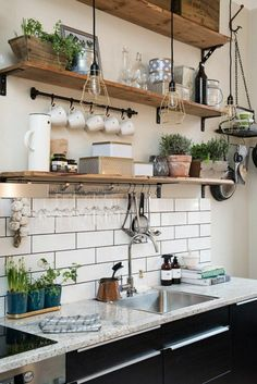 Kitchen tiles bring the interior to life- Küchenfliesen machen das Interieur lebendig wall design kitchen white wall tiles open wall shelves - Kitchen Tile Interior, Farmhouse Kitchen Decor, Farmhouse Style, Decorating Kitchen, Kitchen Backsplash, Design Kitchen, Modern Farmhouse, Farmhouse Budget, Kitchen Cabinets