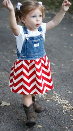Red Chevron Dress. $37.00, via Etsy... need to try to make this!