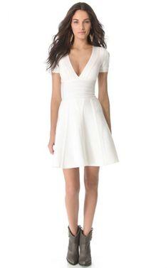 A-Line V-Neck Herve Leger White Bandage Cocktail Dress
